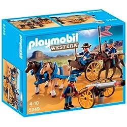 Playmobil - Soldados americanos con cañón, figuras de juguete (5249)