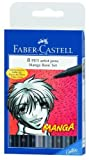 Faber-Castell 167107 Manga Pitt Künstlerstifte, 8 Packungen, 5 Grautöne, 3 sortierte Spitzen, Schwarz