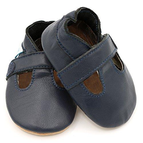 Dotty Fish - Chaussures cuir souple bébé – Garçons T-Bar Marine garçon T-Bar
