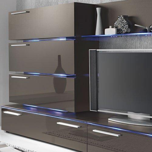 Anbauwand 7-tlg. Hochglanz grau, 2 x TV-Element, 3 x Hängeschrank, 3 x Zwischenelement, 2 x Glasbodenpaneel, Mindestb.: ca. 300 cm, Tiefe: ca. 40 cm - 2