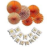 FLGood Geburtstagsdeko - Papier Fächer Rosetten Dekoration für Geburtstag-Feier -Party - Erwachsene und Kinder - Happy Birthday Girlande