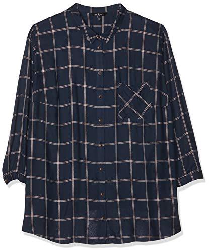 Lurex-karo-shirt (Ulla Popken Große Größen Damen Bluse Hemdbluse mit Lurex-Karo, Blau (Dunkelblau 70), 58)