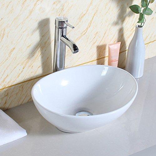 Seasofbeauty Luxueuse Vasque à Poser en Céramique Lavabo Ovale Blanche avec Bonde Pop-up (40x33x14.5 cm)