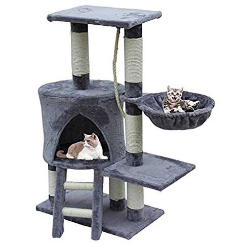 Cat Tree Scratcher Scratching Post with Rope House,Play Tower Activity Centre Climbing Furniture Made of Heavy Sisal 96cm, Grey