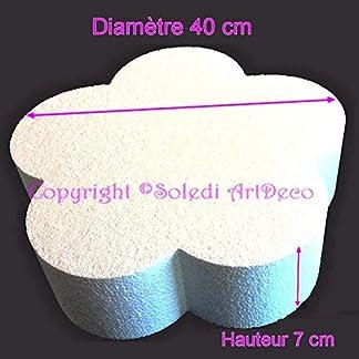 Lealoo – Base Plana Grande 2D de poliestireno Blanco, diámetro 40 cm x Grosor 7 cm, Soporte para Centro de Mesa.