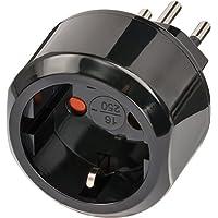 Brennenstuhl Reisestecker Adapter, Steckdosenadapter Reise (Für: Schweiz Steckdose und  Euro Stecker) Farbe: schwarz