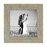 PHOTOLINI Vintage Bilderrahmen 20x20 cm Grau-Grün Shabby-Chic Massivholz mit Glasscheibe und Zubehör/Fotorahmen / Nostalgierahmen