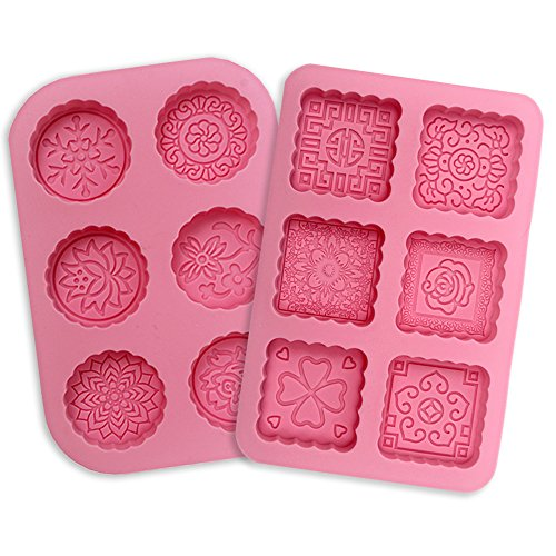 JUSLIN 2 Pcs Round & Square 6-Cavity Silicone Soap Mold Cake Mold Chocolate Mold
