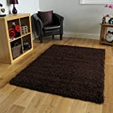 Soft Touch Shaggy Chocolate Thick Luxurious Soft 5cm Dense Pile Rug. Available in 7 Sizes (120cm x 170cm)