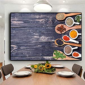 Leinwanddruck Plakat Leinwand Malerei Wand dekorative Küche Leinwand Malerei Getreide Gewürze Löffel Paprika Bild…