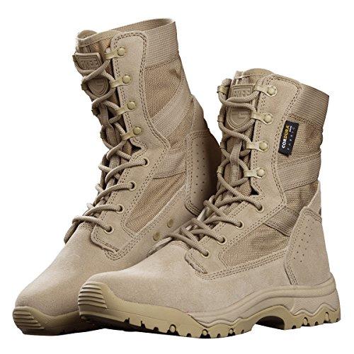 FREE SOLDIER Herren Stiefeletten 20,3cm Zoll Spitze bis Tactical Arbeit Schuhe All Terrain Ultralight atmungsaktiv Desert Boots (Sand Color, 43 EU)