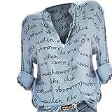 SANFAHSION Chemise Florale Haut Chic Femme Shirt Col V Tee Tops Lin Manche Longue Mode Vetement Casual Basique Habite Travaille Automne Hiver(Bleu Clair.4XL)...