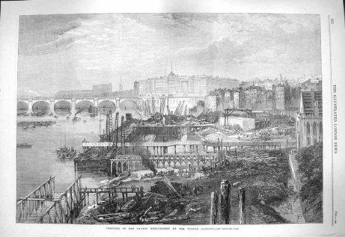 1865 Jardins Londres de Temple de Remblai de la Tamise de Progrès [Cuisine et Maison] par original old antique victorian print