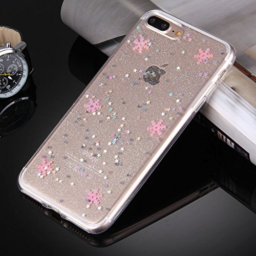 Für iPhone 7 Plus Flash Powder Twinkling Schneeflocken Pattern Soft TPU Schutzhülle Back Cover by diebelleu ( Color : Pink ) Pink