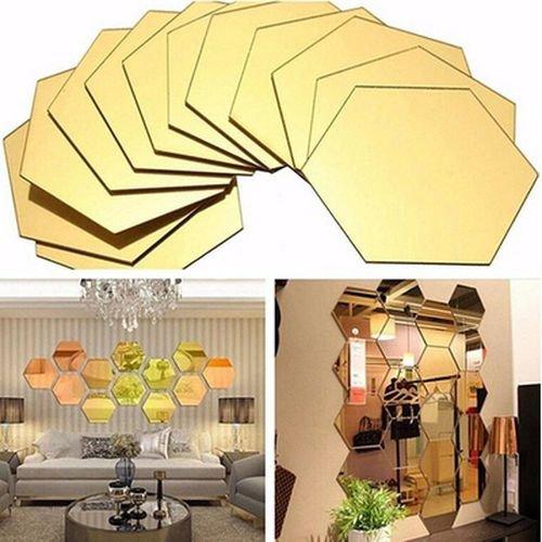 Demana 12 Stück Spiegel Hexagon Acryl Wandaufkleber Wand-Dekor DIY Wandtattoo für Zimmer Dekoration Wabe