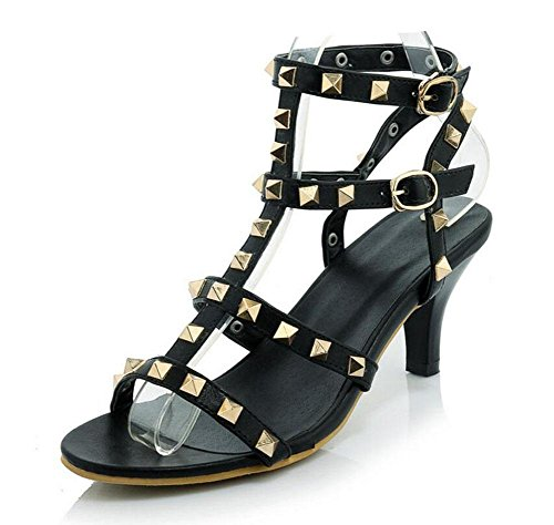 Charmante Bankett Feine Pumps Regenbogen Black Schuhe Glter Römische High Knöchelriemen Frauen Neue heel Toe Sommer Size Sandalen Peep Big Nieten xUxqIpwz0