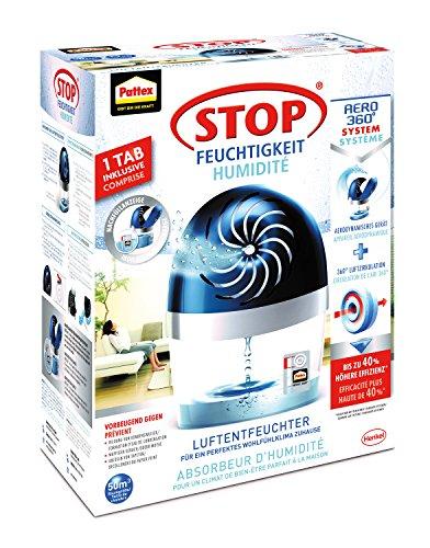 Pattex Stop Feuchtigkeit Aero 360° Luftentfeuchter / Räume bis 50m³ / Raumentfeuchter wiederverwendbar gegen Schimmel und unangenehme Gerüche / Optimierte Luftzirkulation / Inkl. 1 x 450g Tab