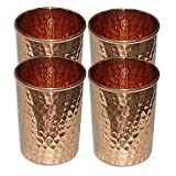 #9: Set of 4, Copper Glass for Ayurvedic Health Benefits Drinkware Hammered Tumbler