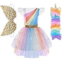 Freebily Disfraz Princesa Niña para Carnaval Halloween Vestido Fiesta Niñas de Cosplay Conjunto con Alas Diadema Infántil