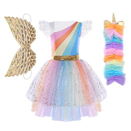 Tiaobug Mädchen Einhorn Kostüm Set Prinzessin Kleid + Blumen Haarband Haarreif für Kinder Weihnachten Verkleidung Karneval Party Halloween Festkleid Mit Flügel 140-152/10-12 ()