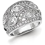 Sterling Silver Polished Rhodium Plating CZ Ring - Ring Size Options Range: L to P