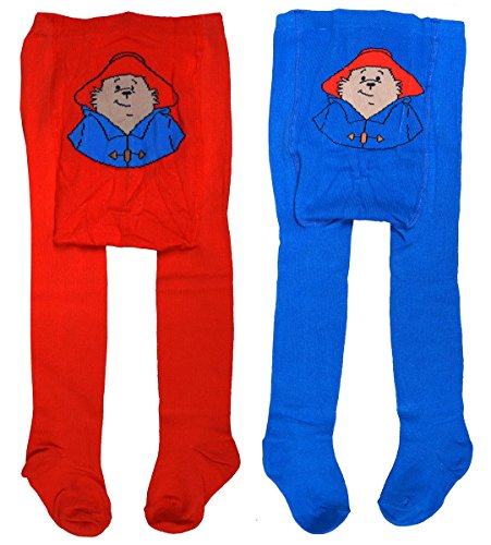 Baby PACK OF 2 Toddler Paddington Bear Red/Blue Tights sizes from Tiny Baby to 24 Months