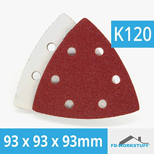 50 Stück Klett-Schleifpapier 93x93x93 Körnung 120 für Delta-Schleifer 6 Loch