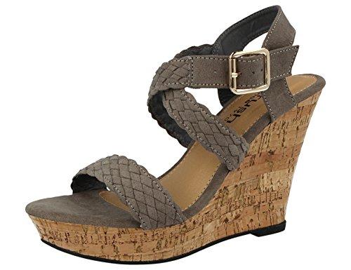 3e347949165 Ladies Plait Espadrille Open Toe Cork Effect Fashion High Wedge Heel Summer  Sandals Size 3-