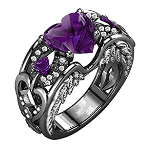 WSSB-Womens Fashion Exquisite Ring Silver Natural Ruby Gemstones Birthstone Bride Wedding Engagement Heart Ring PP