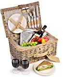 Sänger Picknickkorb Amrum aus Weide | Hochwertiger Weidenkorb mit integrierter Kühltasche für 2 Personen | 13 teilig | Volumen der Kühltasche 18 L | Henkelkorb mit Picknickgeschirr