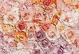 Fototapete FLOWERS, 366 x 254 cm, pastellfarbige Papier-Blüten, rosa-orange, 8-teilig