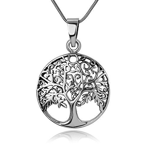 Banyan Tree Roots (Chuvora 925oxidiertes Sterling Silber Open filigranen Antike Tree Of Life Symbol Anhänger Halskette rund, 45,7cm)