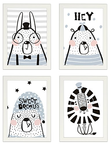 """Kinder Poster 4er-Set """"TIERE"""", gerahmt DIN A4 Hochformat, Dekoration fürs Kinderzimmer im skandinavischen Stil, Tierposter, Illustrationen, Kinderposter, Poster mit Rahmen, Geschenk, Kunstdruck (Mit IKEA FISKBO weiss)"""