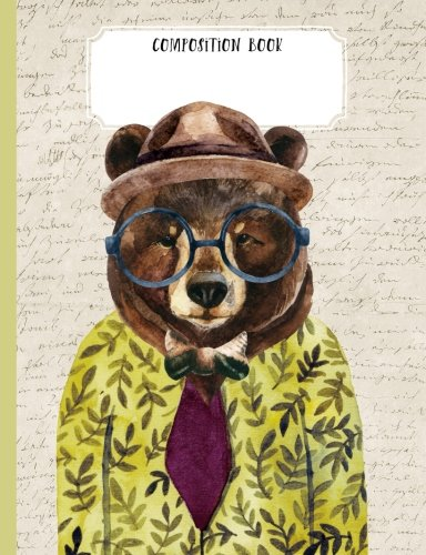 Composition book: Trendy Bear in a suit Illustration: 200 pages college ruled line paper Composition Notebook 7.44
