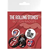1art1 68771 Rolling Stones - Zunge, 4 X 25mm & 2 X 32mm Buttons Button Pack 15 x 10 cm
