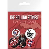 Rolling Stones - Lengua, 4 X 25mm & 2 X 32mm Chapas Set De Chapas (15 x 10cm)