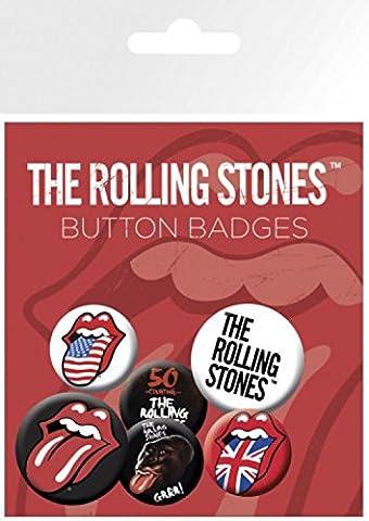 Rolling Stones Paquet De Badges - Langue, 4 X 25mm & 2 X 32mm Badges (15 x 10 cm)