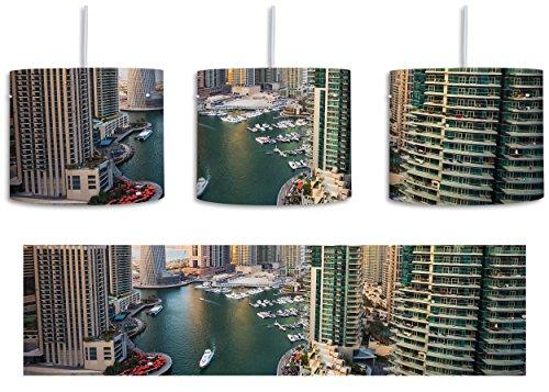 Metropole Ein Licht (Dubai Metropole inkl. Lampenfassung E27, Lampe mit Motivdruck, tolle Deckenlampe, Hängelampe, Pendelleuchte - Durchmesser 30cm - Dekoration mit Licht ideal für Wohnzimmer, Kinderzimmer, Schlafzimmer)