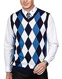 Männer Klassische V-Neck Pullover Weste mit Rautenmuster Design Dunkelblau Größe M