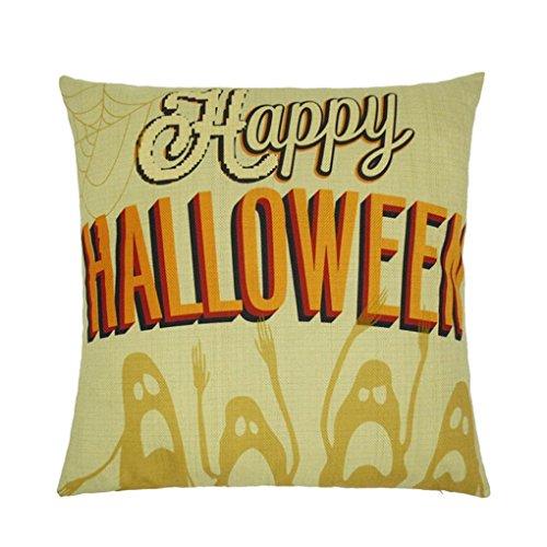 JIANGFU Halloween Briefe Kissenbezug,Happy Halloween Kissenbezüge Leinen Sofa Letter Kissen Cover Home Decor (Halloween Candy Cotton Kostüme)