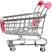 Mini carros de mano de supermercado - TOOGOO(R)Mini Carro de compras Carros de mano de supermercado Modo de carros de utilidad de compras Juguete de almacenamiento (Rosado)