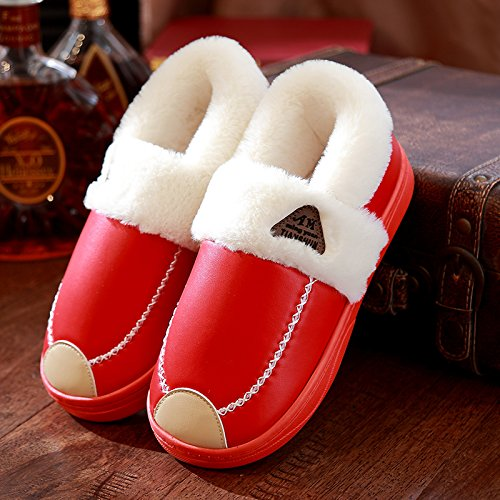 DogHaccd pantofole,Il cotone pantofole pacchetto femmina con spessi inverno SCARPE Indoor acqua calda-resistente anti-slittamento coppie pantofole in pelle home men. Il rosso1