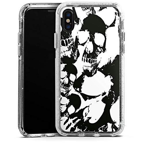 DeinDesign Apple iPhone XS Bumper Hülle Silber transparent Bumper Case Schutzhülle Glitzer Look Skull Gothic - Halloween Für Gothic-look
