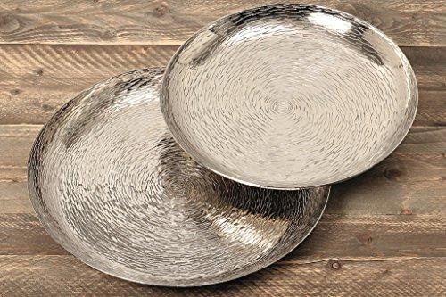 Edle Deko Schale Tablett Ties aus Aluminium rund D 42cm in silber-optik - Obst-teller-halloween-party