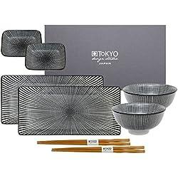 Tokyo Design Studio Sendan Tokusa Black Sushi Set. 8-teiliges Sushi Geschirr Set für 2 Personen. Aus Hochwertigem Porzellan. In schöner Geschenkbox. Spülmaschinenfest. Mikrowellengeeignet.