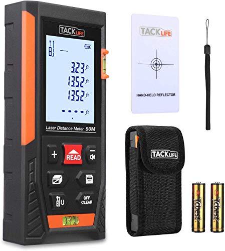 Telémetro láser, Tacklife HD 50m con rango distancia de medida 0,05~50m /±1,5mm, pantalla retroiluminada LCD con 2burbujas de nivel Medidor...