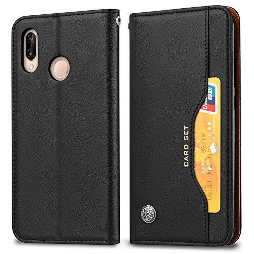 casefirst Huawei P20 Lite Wallet Case, Stylish Slim PU Leather Phone Case Stand and Card Holders Wallet Phone Cover Flip Case Protective Case for Huawei P20 Lite -Black (Light Custom Switch)
