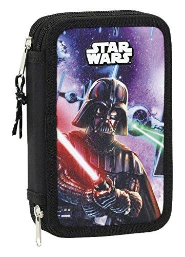 Star Wars Plumier Doble pequeño 28 Piezas (SAFTA 411701854), Color Negro, 20 cm
