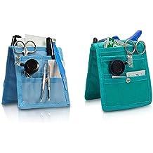 Pack 2 organizadores de enfermería Keen's para bata o pijama | Colores: 1 verde y 1 azul | Lote ahorro | Medidas: 14,5 x 12 cm | Elite Bags