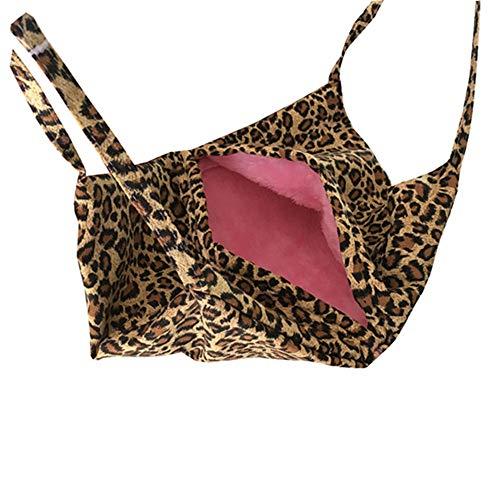 Yzibei Interessant Leopard Grain Charakter Flanell + Leinwand Katze Schlafsack multifunktionale Haustier Hängematte Hamster Eichhörnchen Hängematte (Farbe : Gelb, Größe : 45X34CM)